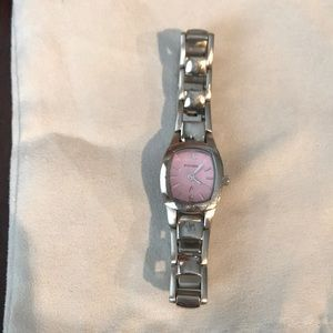 Fossil silver and light pink watch